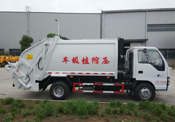 五十铃5方压缩式垃圾车正侧面图