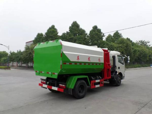 东风大多利卡8方挂桶垃圾车红白绿三色后右面图