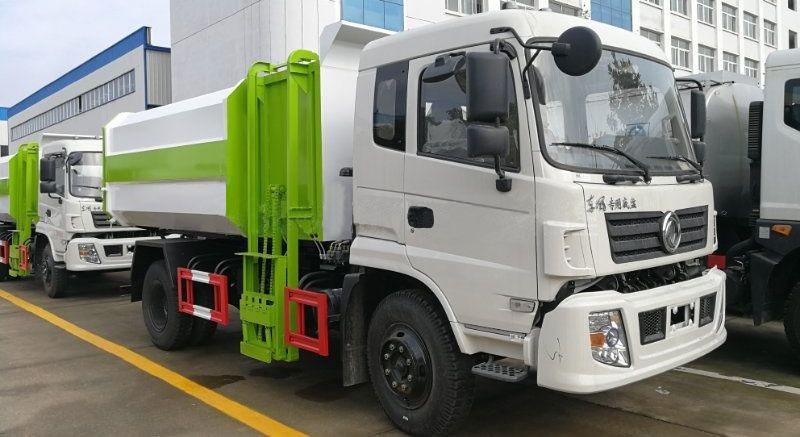东风专底12方挂桶垃圾车白绿二色搭配