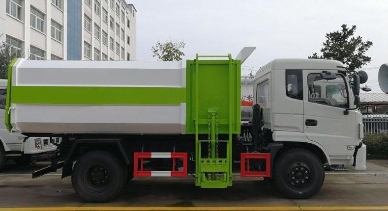 东风专底12方挂桶垃圾车白绿二色搭配正侧面图