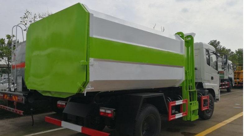 东风专底12方挂桶垃圾车白绿二色搭配后右面图